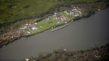 Damage in Grand Isle, Louisiana.