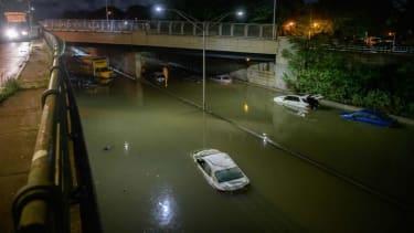 A flooded roadway in Brooklyn.