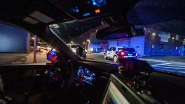 Interior of police cruiser.