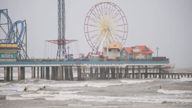 Rain falls in Galveston from Tropical Storm Nicholas.