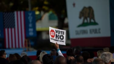 A supporter of California Gov. Gavin Newsom.