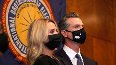 Gavin Newsom and his wife Jennifer Siebel Newsom.