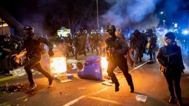 Violent protest in Portland.