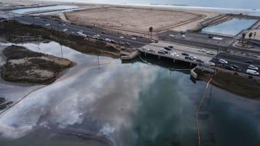 The oil spill in Orange County, California.