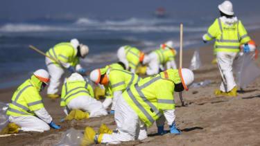 Huntington Beach oil spill cleanup.