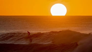 A surfer in Hawaii.