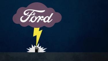 A lightning bolt hitting a gas pump.