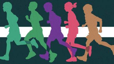 Kids running.