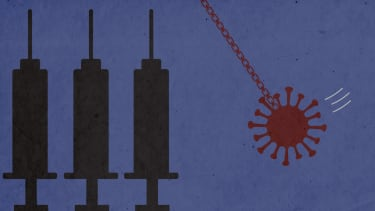 A wrecking ball and syringes.