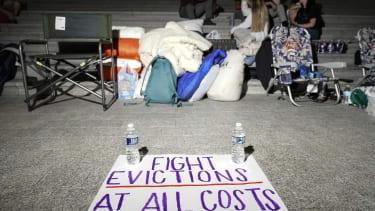 Protest against eviction moratorium expiration.