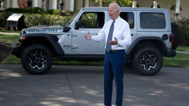 Biden and a Jeep