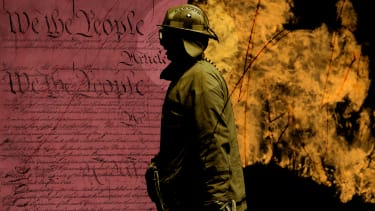 The Constitution and flames.