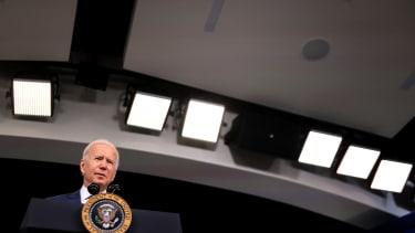 Biden talks to press
