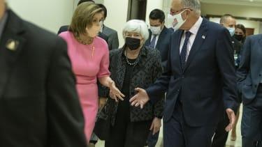 Nancy Pelosi, Chuck Schumer and Janet Yellen