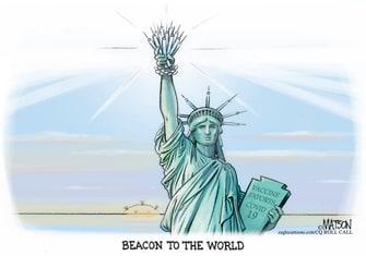 Editorial Cartoon covid vaccines statue of liberty.