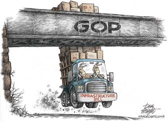 Political Cartoon U.S. gop democrats biden infrastructure
