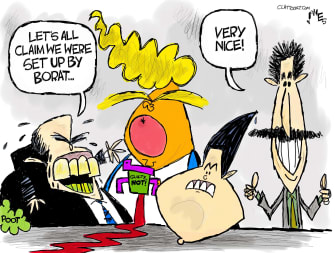 Political Cartoon U.S. borat trump giuliani gaetz