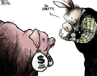 Political Cartoon U.S. democrats pork earmarks