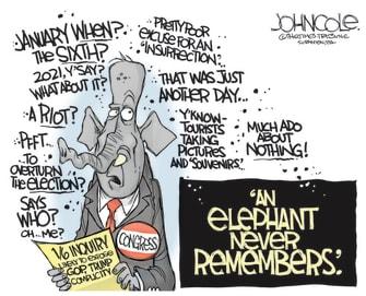 Political Cartoon U.S. gop january 6 capitol riot