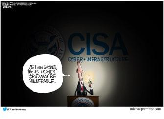 Editorial Cartoon U.S. cisa power grid cyberattack