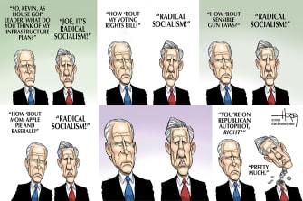 Political Cartoon U.S. biden kevin mccarthy