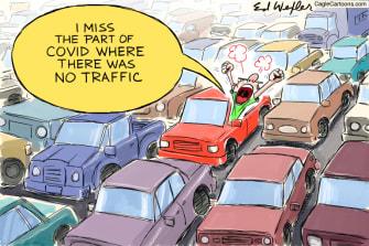 Editorial Cartoon U.S. covid traffic