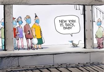 Editorial Cartoon U.S. new york city subway