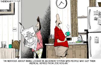 Editorial Cartoon U.S. covid vaccines joe rogan