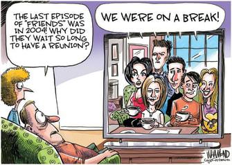 Editorial Cartoon U.S. friends zoom reunion