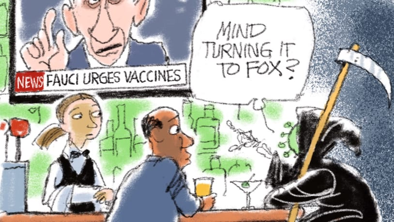5 scathing cartoons about Fox News' mixed vaccine messaging